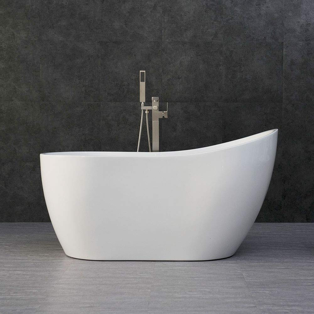 WOODBRIDGE White 54 Acrylic Freestanding Bathtub Contemporary Soaking Tub with Brushed Nickel Overflow and Drain, B-0006 BTA1507