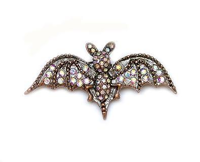 Alilang Silver Tone Halloween Ombre Pink Vampire Bat Wing Crystal Rhinestone Animal Brooch Pin iXl9kMbE