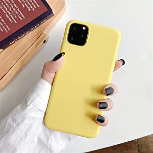 XINHUANG Solid Color Silicone Couples Cases for iPhone XR X XS Max 6 6S 7 8 Plus 11 11Pro Max Cute Candy Color Soft Simple Fashion Phone Case Yellow, Size : IPhone6s