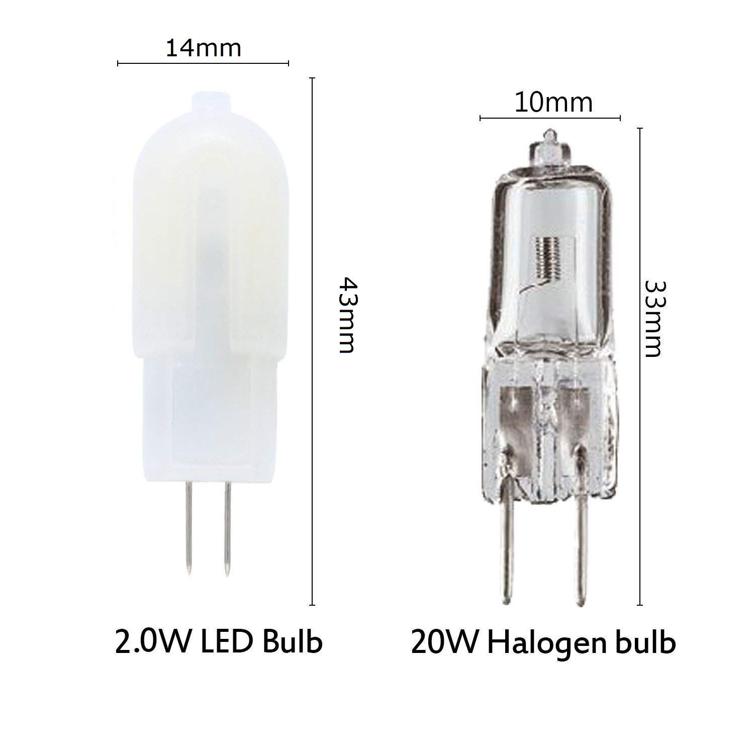 360 Degree Beam Angle 160LM 3000K Warm White Non-Dimmable Capsule Light Bulbs Vlio G4 LED Bulbs 10 Pack 2W 12 LED 2835SMD Replace 20W Halogen Bulbs DC//AC 12V