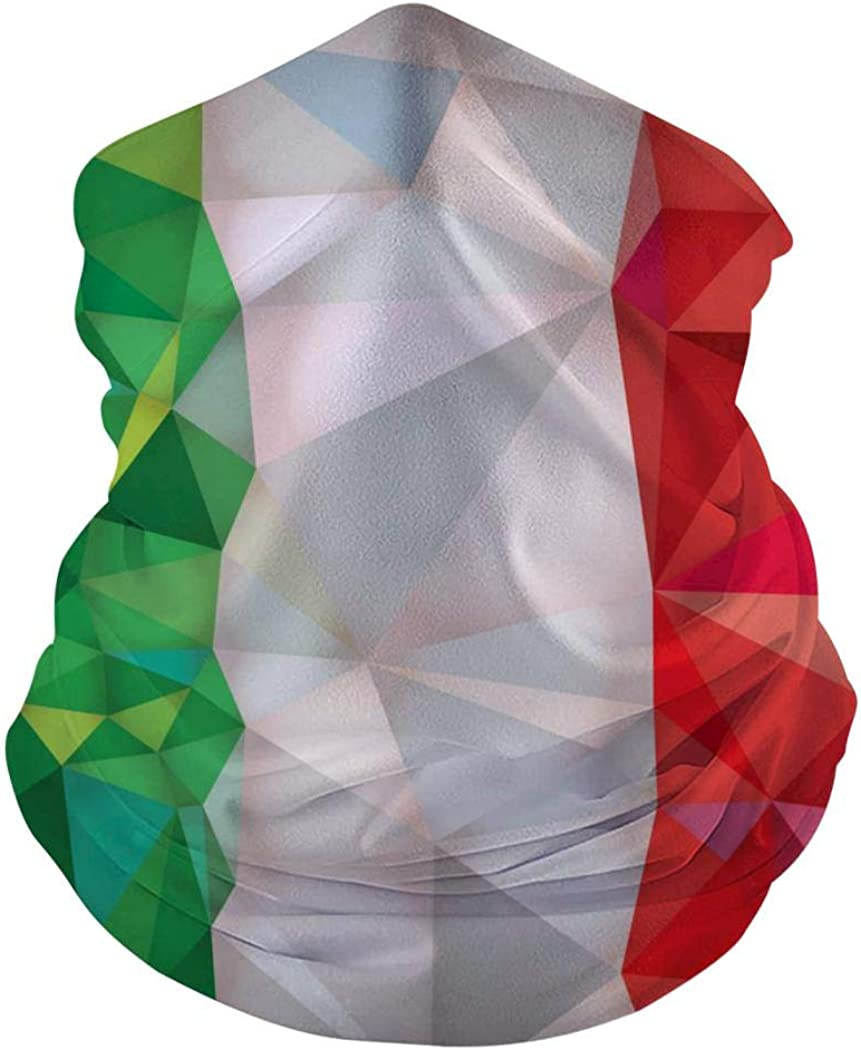 Balaclava for Dust Wind Sun Protection Festivals Outdoors Sports Kicher Green Red White Geometric Pattern Seamless Face Mask Bandanas for Dust