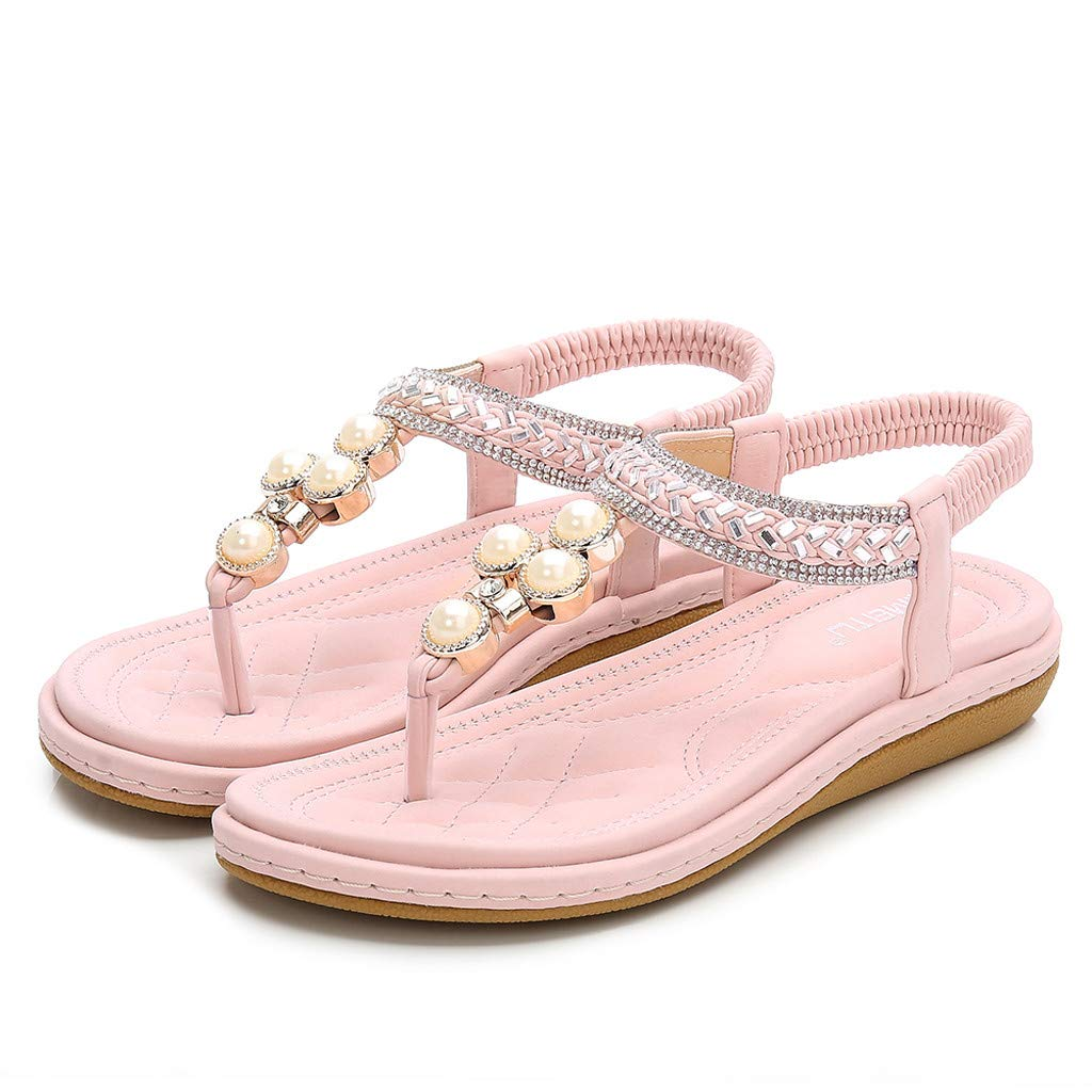 Damen Strass Perle gewebt gestreifte Zehe Retro r/ömische Schuhe Sandalen Wohnungen