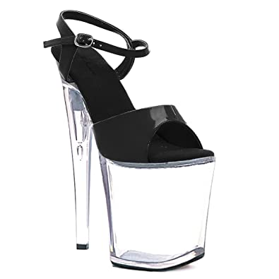 3ae96e3d20c Amazon.com | Summitfashions Womens Clear Sandals 8 Inch Heels Black ...
