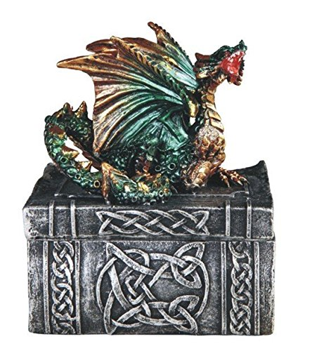 StealStreet SS-G-71524, 3.5 Inch Celtic Design Trinket Box with Green Dragon Statue Figurine, 3.5