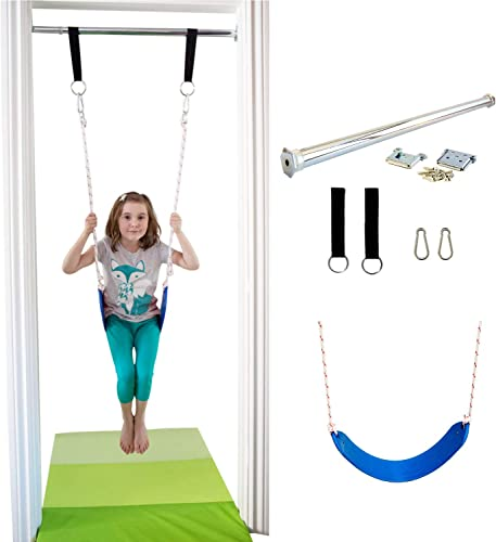 DreamGYM Doorway Belt Swing – Indoor Swing for Kids – Blue
