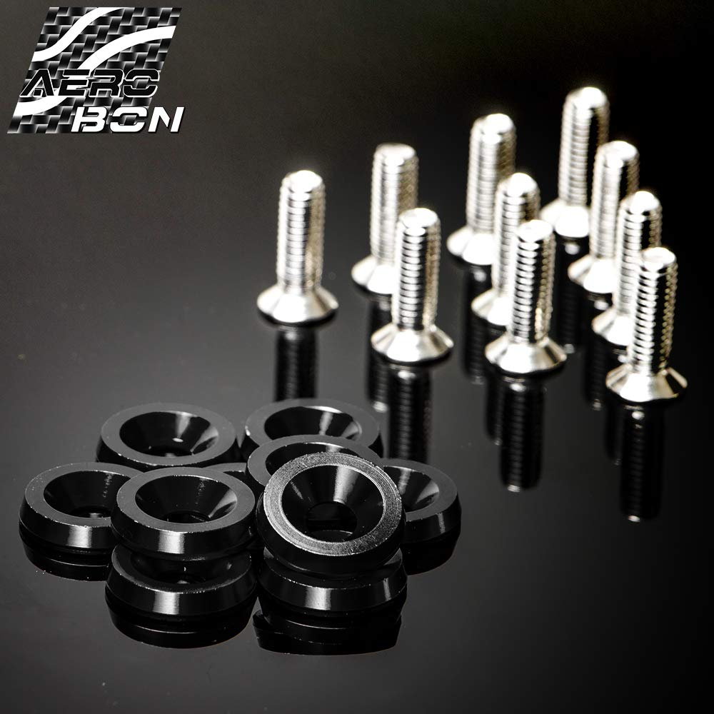 Black CNC Billet Aluminum Bumper Fender Washer//Bumper Washer Bolt//Engine Bay Dress Up 20 Pieces Kit