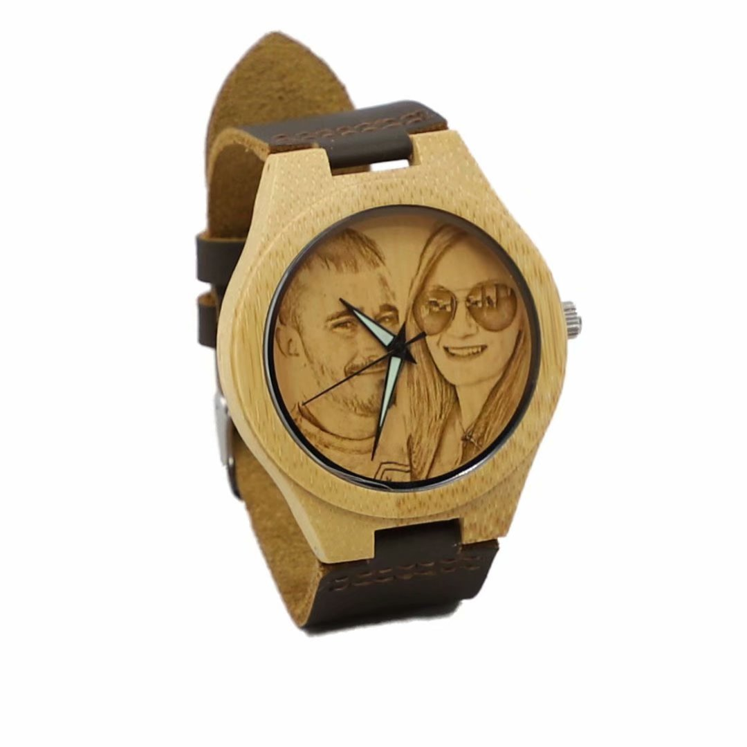 Relojes personalizados para hombres con foto y mensaje - Tallado a mano para regalo del día de padres: Amazon.es: Relojes