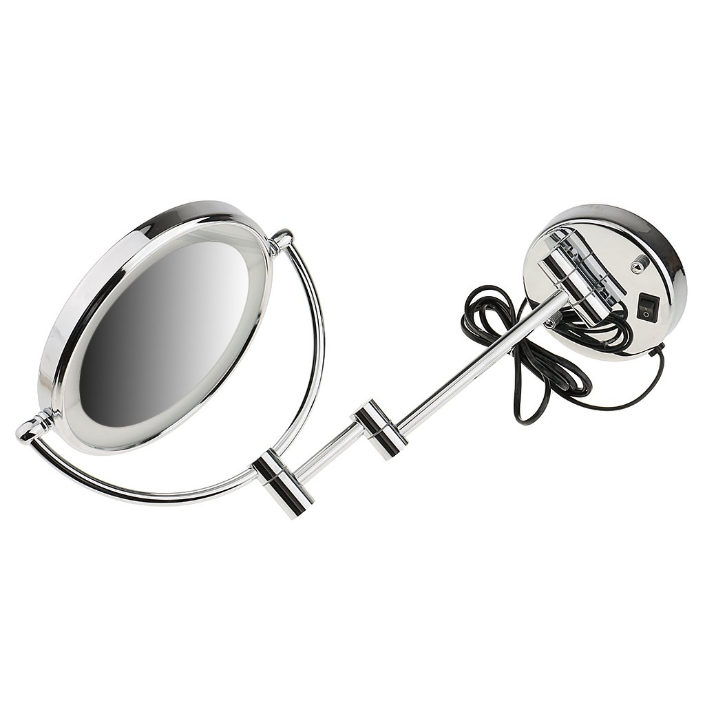 Homyl Metal Double Sided LED Light Wall Mount Mirror Makeup Shaving 3X 5X 7X Rotatable and Adjustable - Chrome, 7x Magnification by Homyl (Image #9)