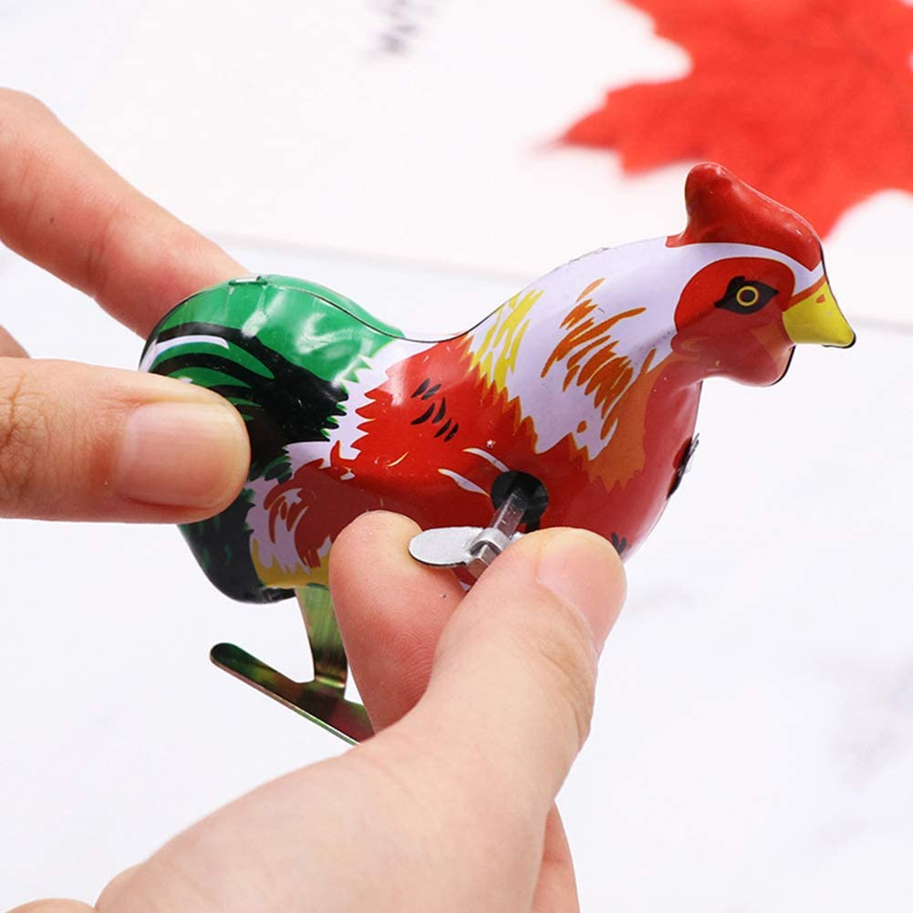 Le yi Wang You Vintage Cartoon Cock Rooster Clockwork Toy Wind Up Jumping Kids Children Gift