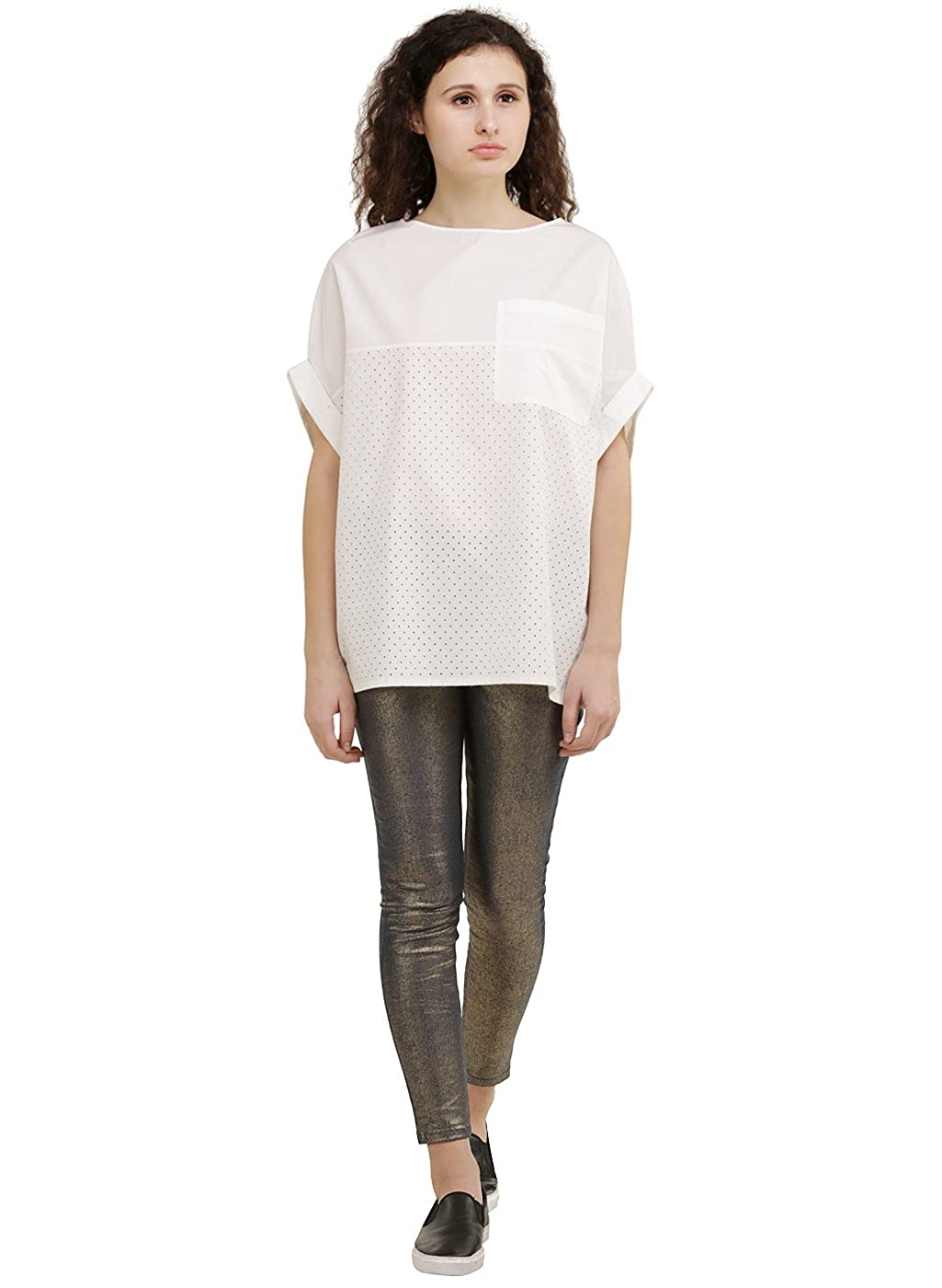 dbe36f40bab5e4 GENES - Lecoanet Hemant Oversized Off-white Top  Amazon.in  Clothing    Accessories