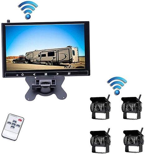 SSCJ Cámara inalámbrica de Marcha atrás para automóvil 7 Pulgadas TFT LCD Espejo Monitor 18 LED
