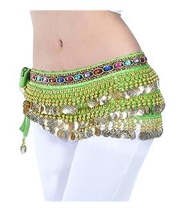 YuanDian Donne Monete Colorate Artificiale Diamante Ballo di Pancia Catena Vita Sciarpa Paillettes Wrap Belt Danza del Ventre Cintura Hip Gonna Frutta Verde