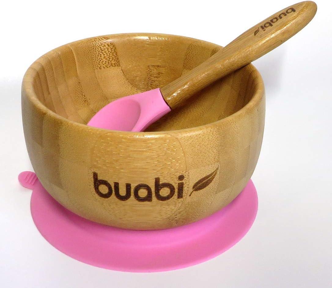 BUABI Vajilla de Bamb/ú natural Bamb/ú y silicona grado alimentario set 3 piezas: Bowl Plato y Cuchara Rosa Ecol/ógico sin BPA Con ventosa antideslizante en la base