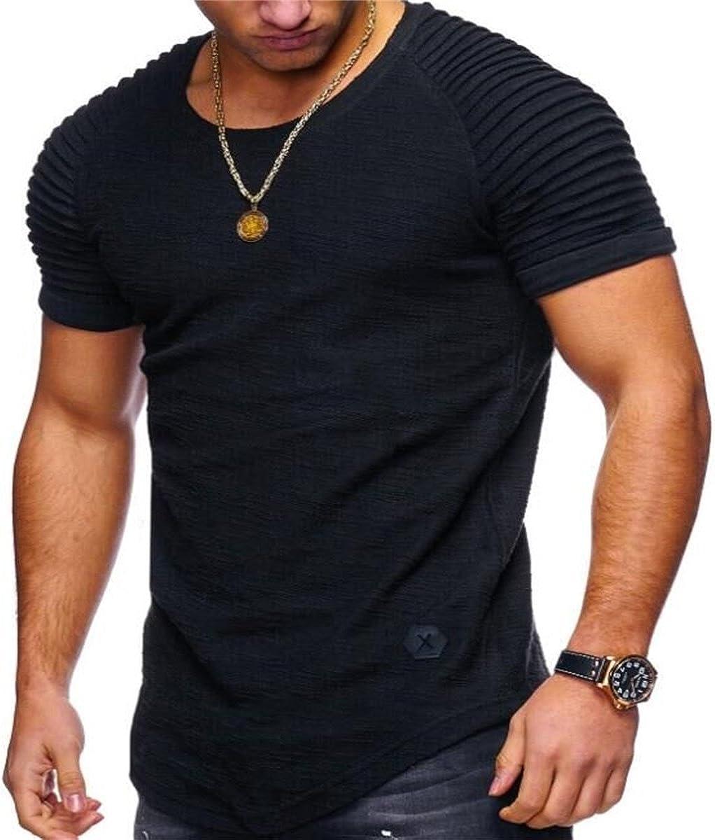 Rcdxing Camiseta de manga corta con hombros descubiertos y cuello redondo fruncido de hombre negro para Hombres Ropa: Amazon.es: Ropa y accesorios