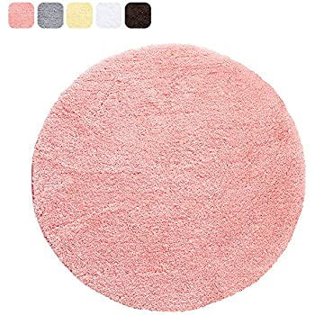 Coral Red Cozy Shag Bathroom Rug, Uphome 2Ft Round Microfiber Soft Shaggy  Non Slip