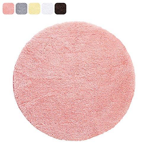 Uphome Microfiber Soft Shaggy Bathroom Rug - Non-slip Soft Absorbent Decorative Bath Mat Floor Carpet (24'' Round, Coral Red)