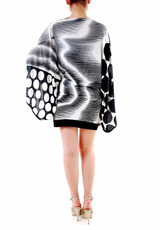 Ana Alcazar Women's Elegant Kimono Sleeve Dress Black/White Size 36