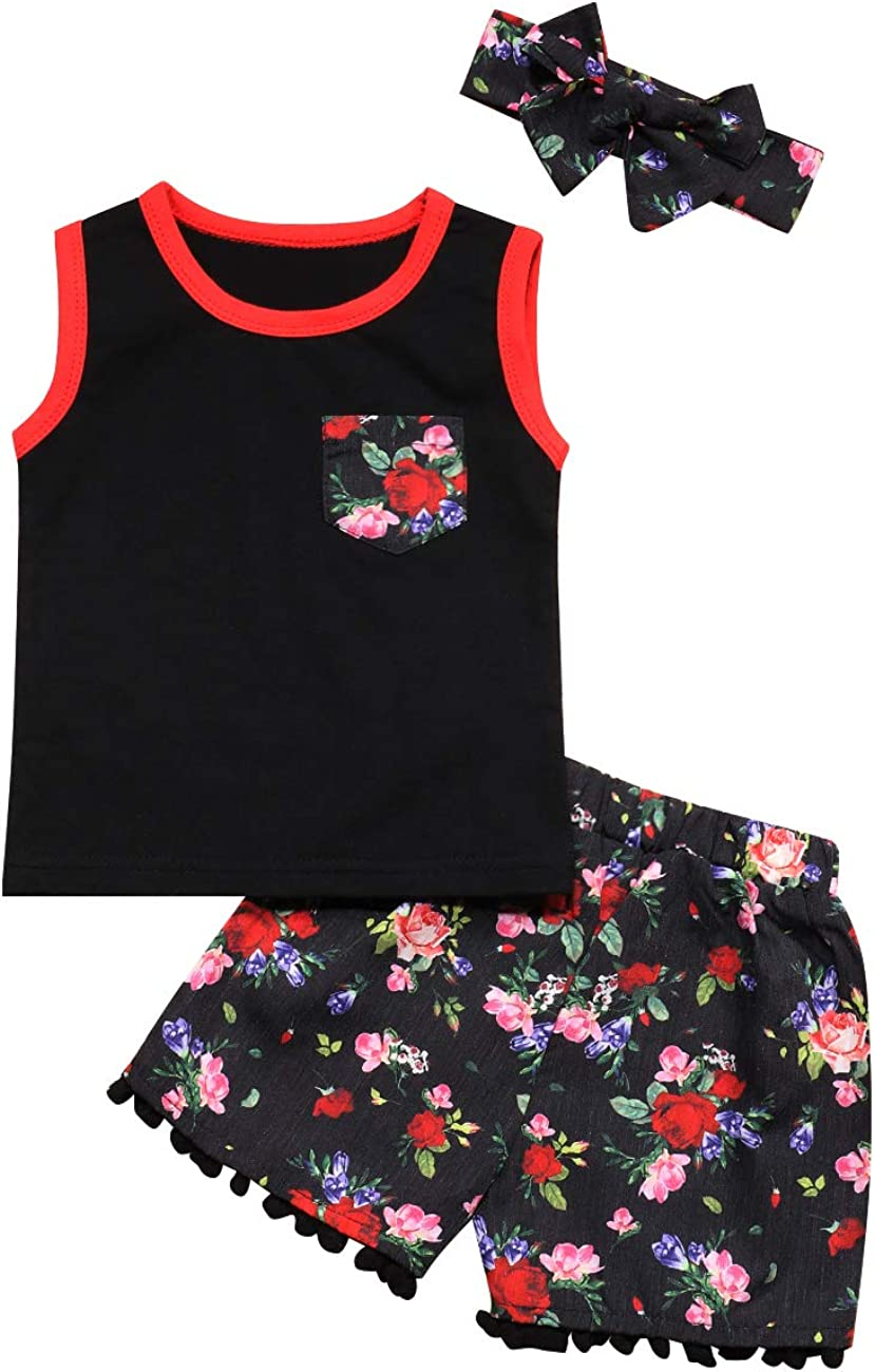 Baby Girl Clothes Mini Boss Sleeveless Black Tops +Floral Print Pants+Headband Newborn Summer Outfit Set