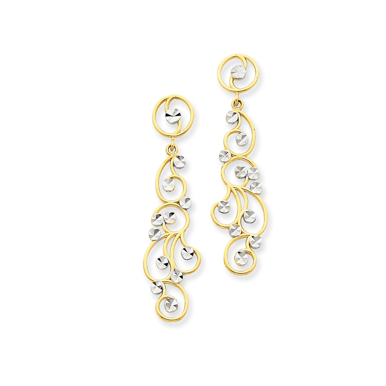Roy Rose Jewelry 14K Yellow Gold and Rhodium Filigree Dangle Earrings
