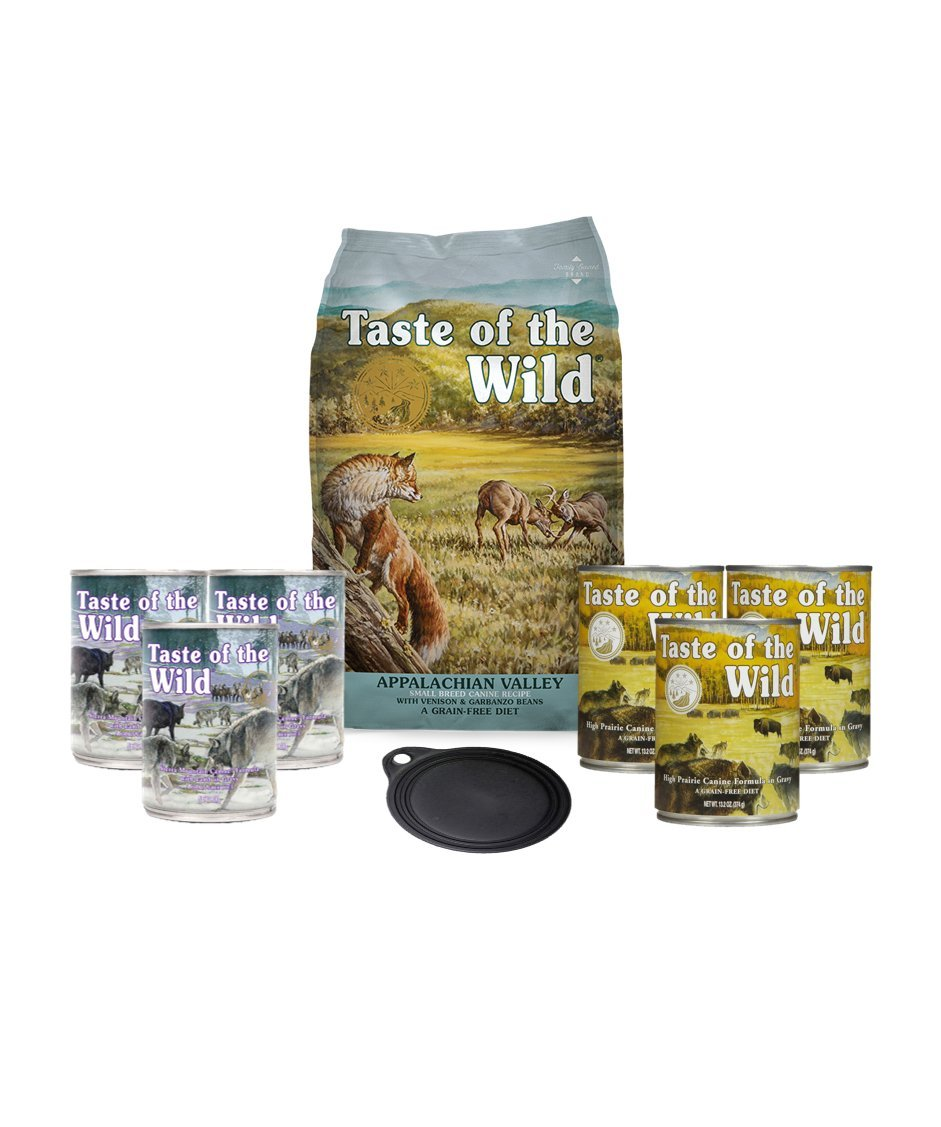 Taste of the Wild Dog-Food Grain Free 5 lb Bag Appalachian Valley Small Breed Canine Formula Venison & garbanzo Beans 1 Bag 6 Cans & 1 Lid Plus 1 Dog Toy 1 Leash 10 Total Items