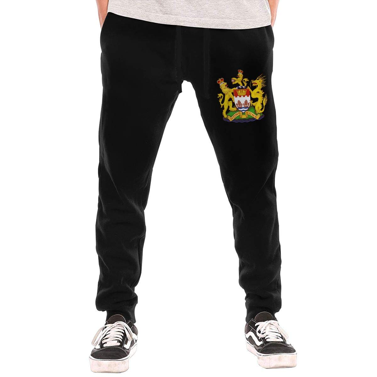 Coat of Arms of Hong Kong Drawstring Waist,100/% Cotton,Elastic Waist Cuffed,Jogger Sweatpants