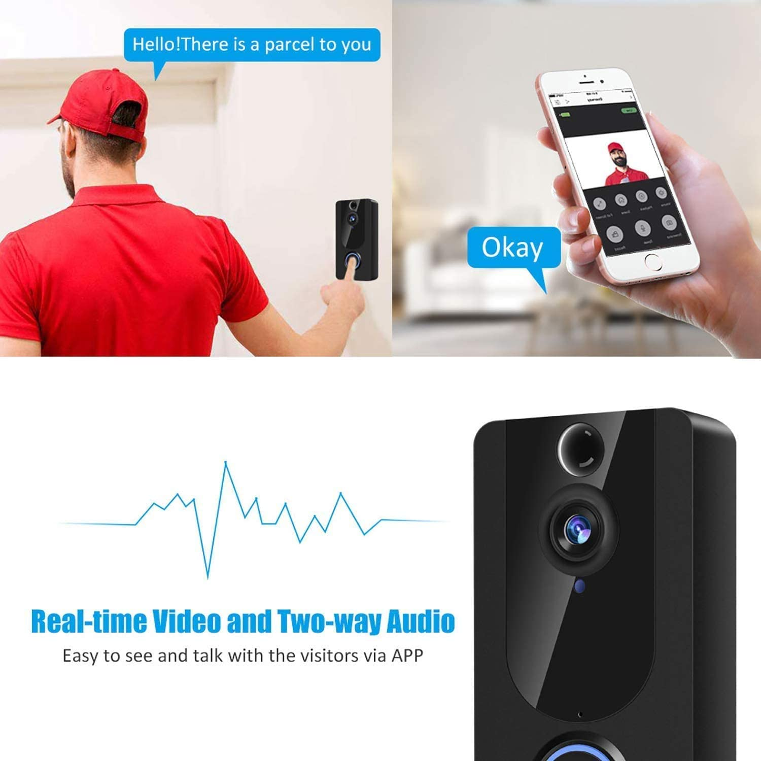 Video Doorbell Wireless 1080P HD Smart WiFi Door View Free Cloud Service Home Security Doorbell Camera Two-Way Audio Video Motion Detection166/°Angle Night Vision with Chime KAMEP