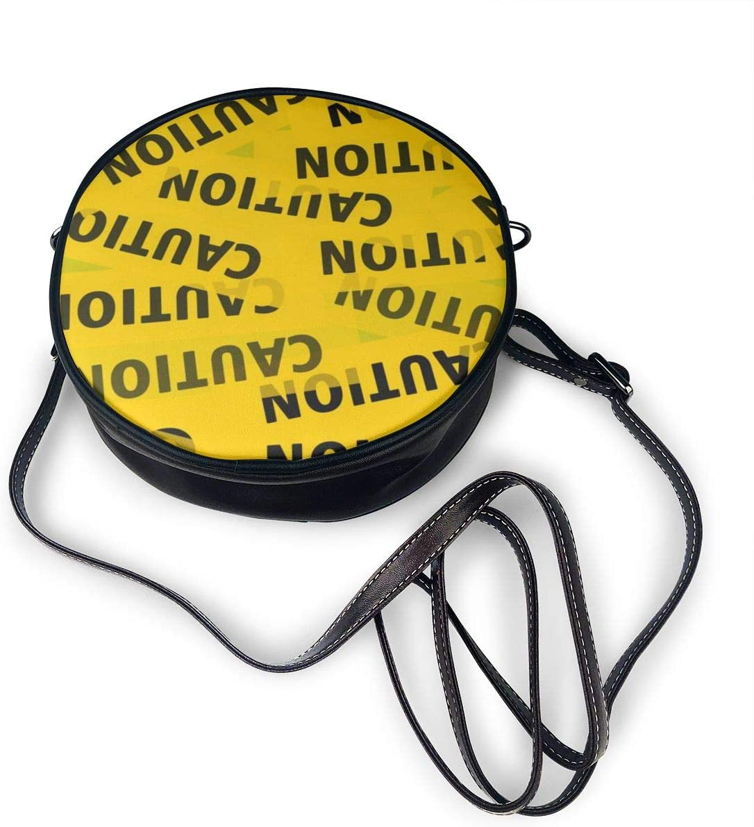 Caution Tape Womens Round Messenger Shoulder Bags Small Wallet School Business Work Bag