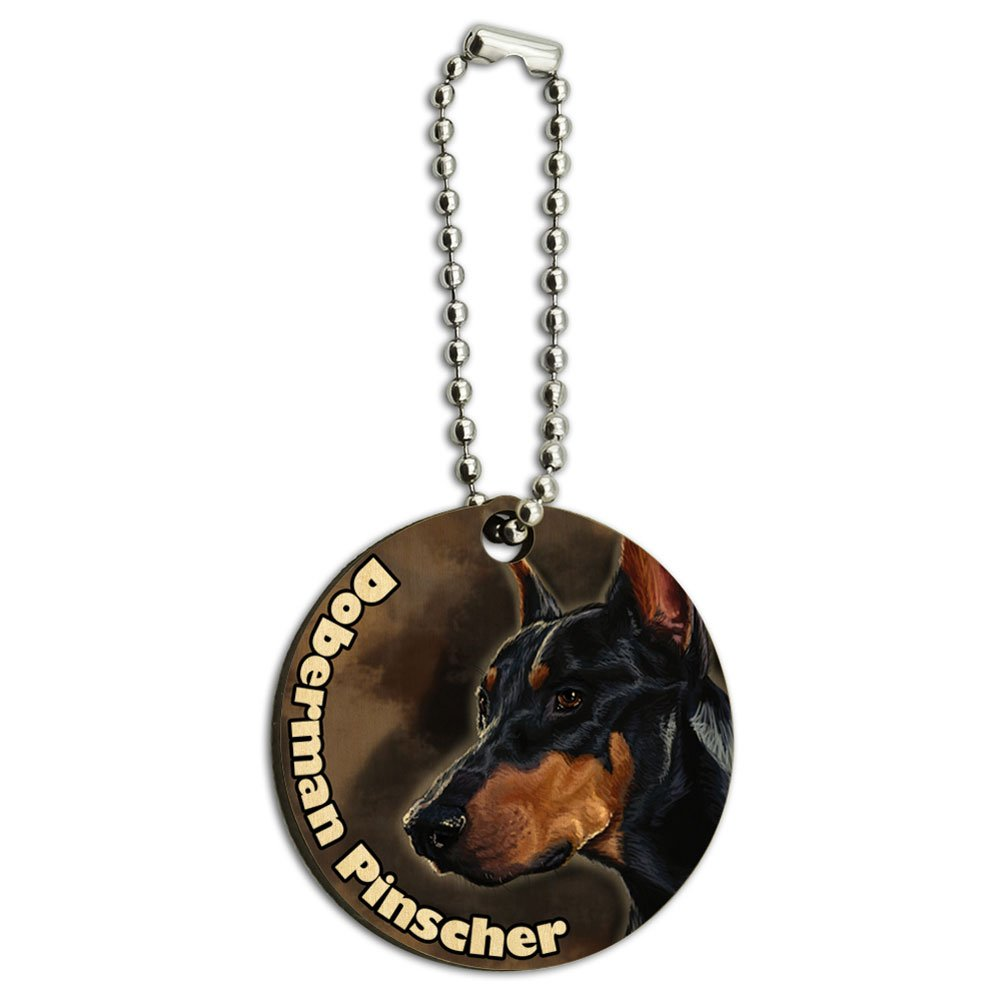 Black Doberman Pinscher Dog Pet Wood Wooden Round Key Chain