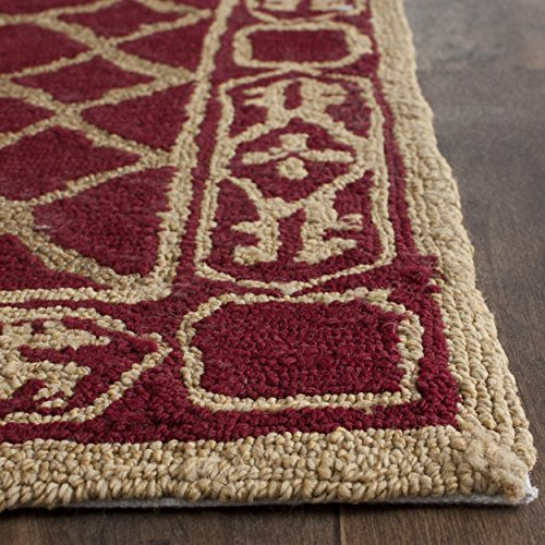 Safavieh Easy to Care Collection EZC729B Hand-Hooked Maroon and Gold Area Rug (2' x 3') - Accents Collection Hooked Rug