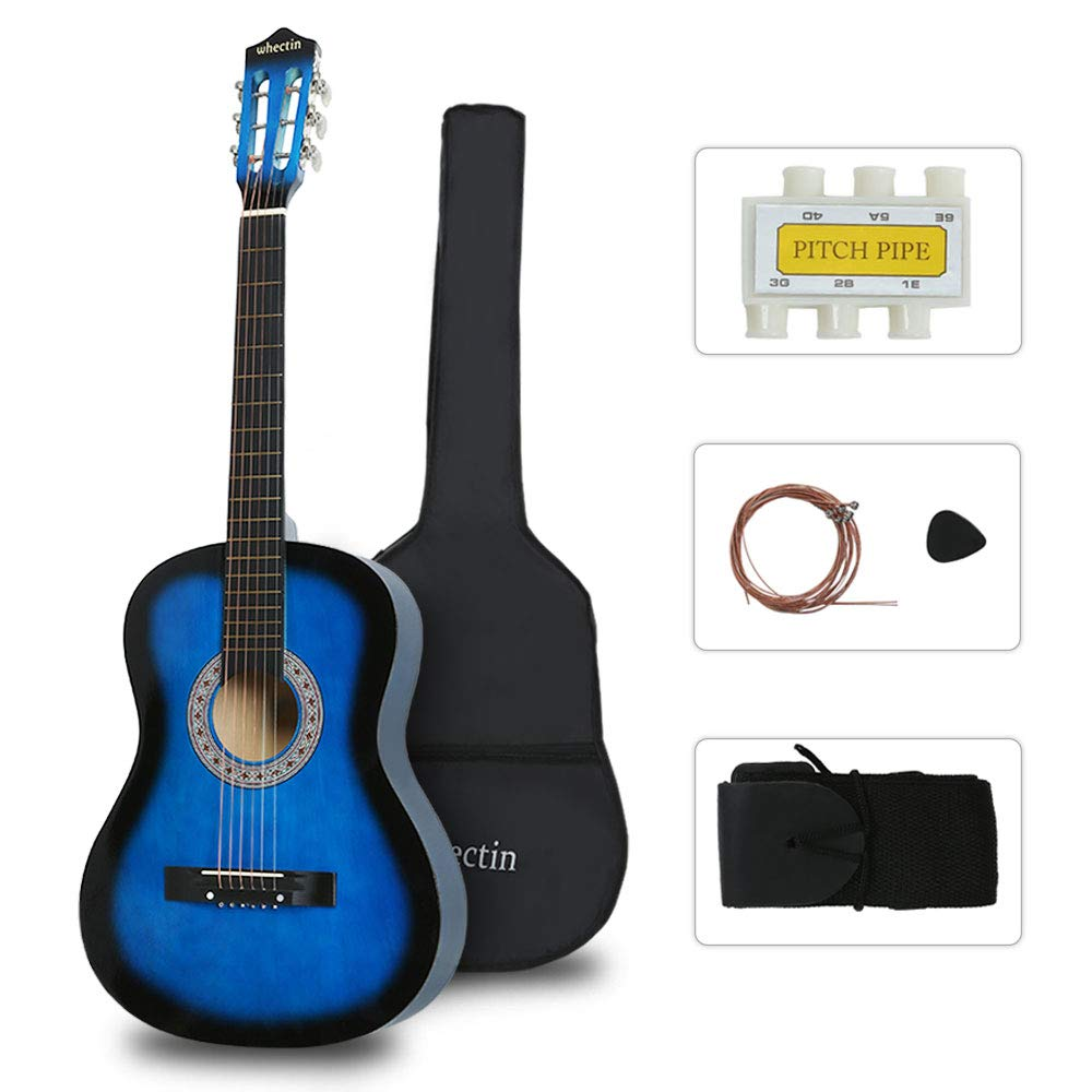 Whectin 38'' Beginners Acoustic Guitars Teens Youth Adult 3/4 Guitarras Starter Kit Steel Strings with Guitar Case, Strap, Tuner & Pick (Blue)