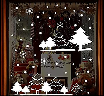 Totomo Christmas Window Decorations Decals Winter Holiday Clings Stickers Snowflakes Snow White Forest W303