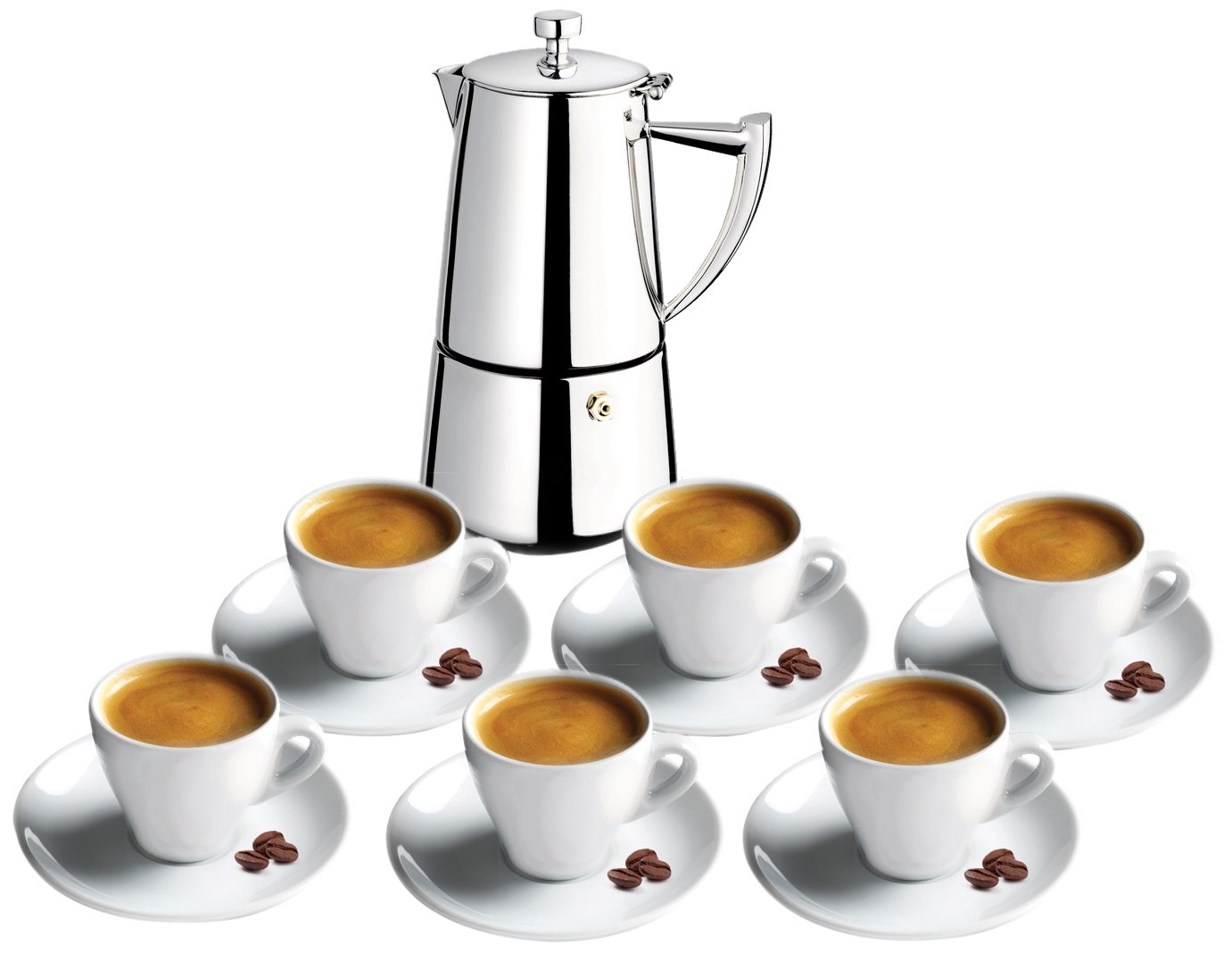 Cuisinox SET-6R66 Set of 6 Espresso Cups and Roma 6-Cup Espresso Coffeemaker, Silver