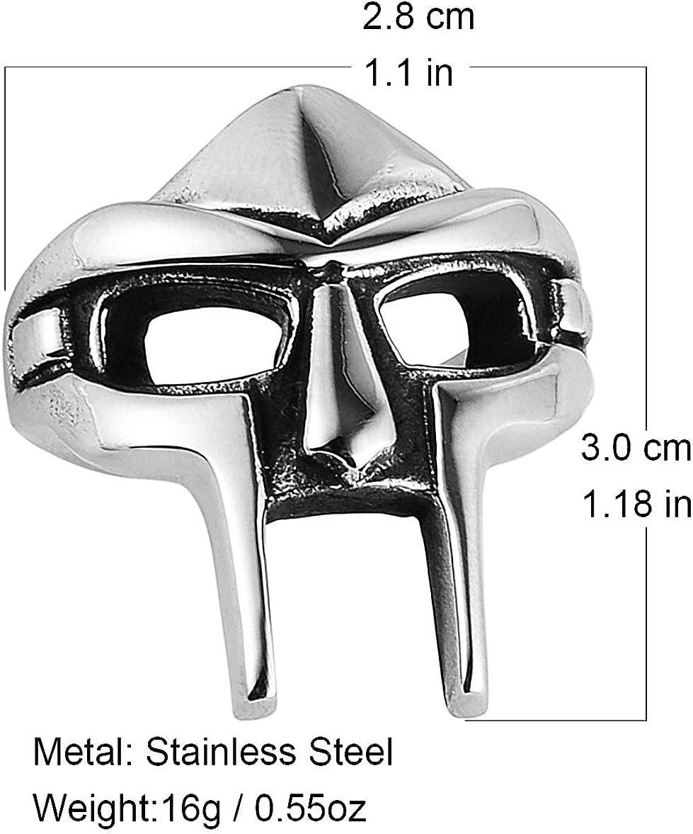 HZMAN Mens Gothic Biker Punk Vintage Stainless Steel Ring Spartan Mask Helmet Nordic Pagan Viking Rings