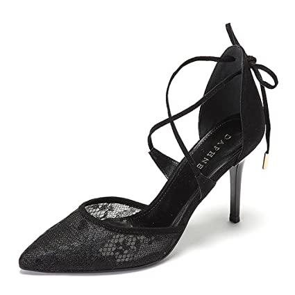 4799ad02a5b Women s high-heeled shoes elegant lace sexy thin shoes ( Color   Black