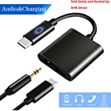 USB C to 3.5mm Audio Adapter, HiMusic 2 in 1 USB Type C Male to 3.5mm Female Stereo Earphone Converter Dongle and Charging Adapter Compatible with Google Pixel 3/3 XL/2/2 XL and More (Black)