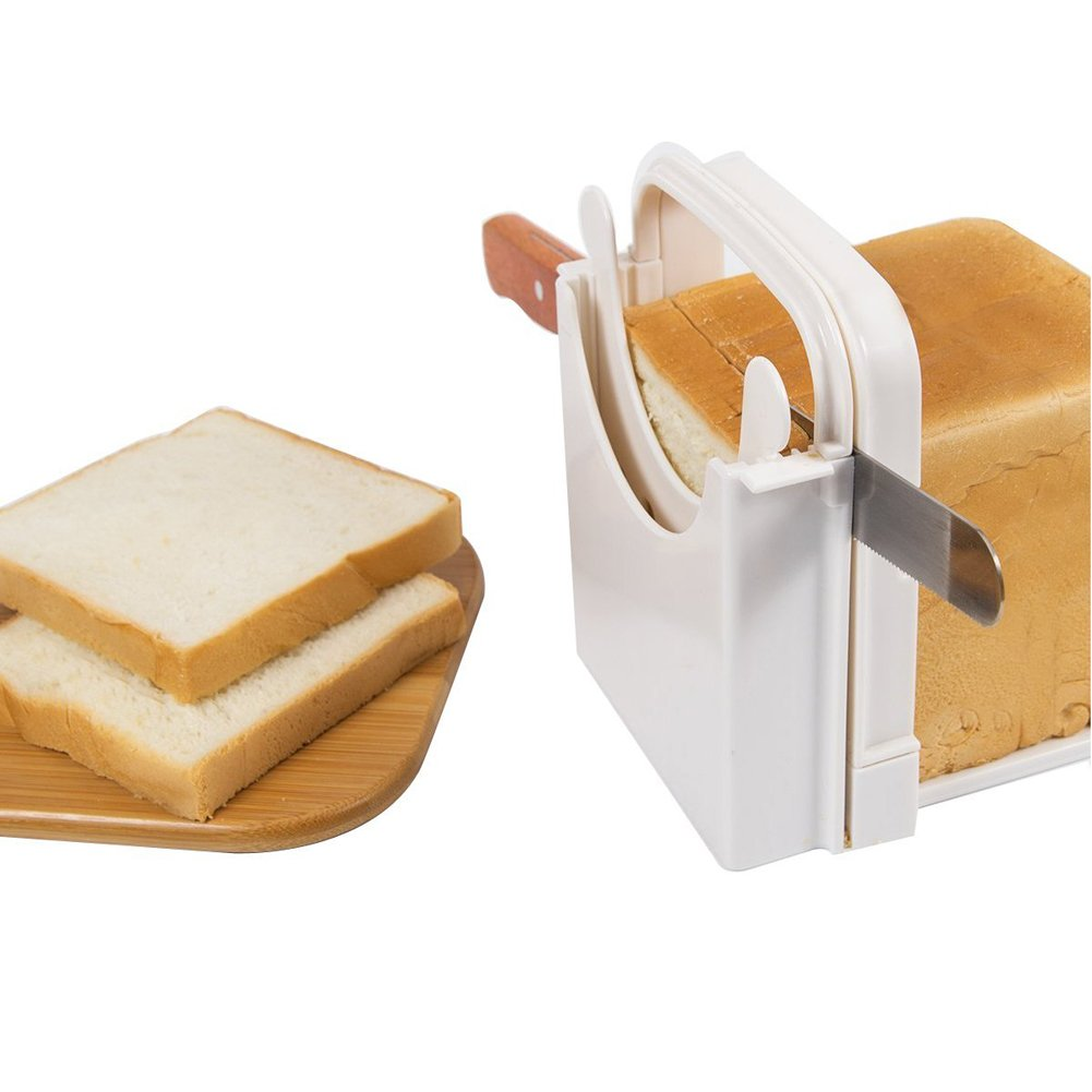 Bread Slicer Loaf Toast Cutting Guide Board Sandwich Maker Slicing Foldable Adjustable Environmentally Friendly ABS Material (White)