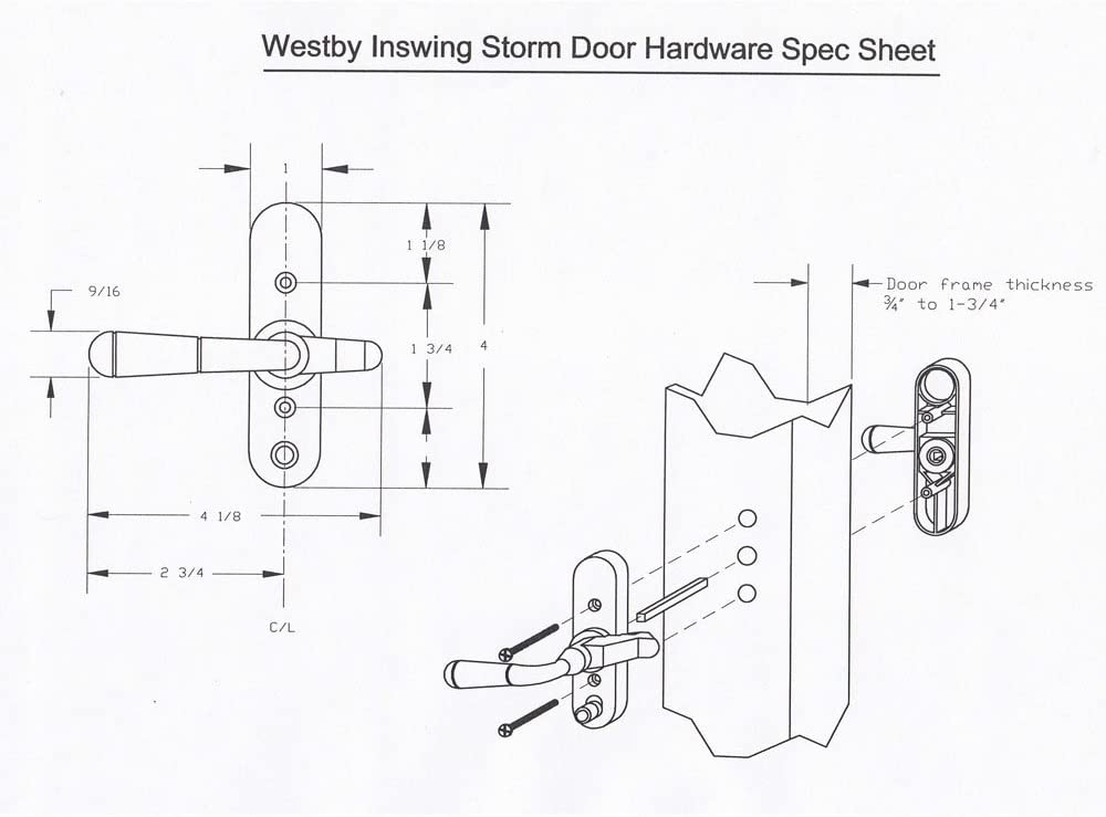 Kiavetta Storm Door Inswing LatchDurable with Installation Instructions and