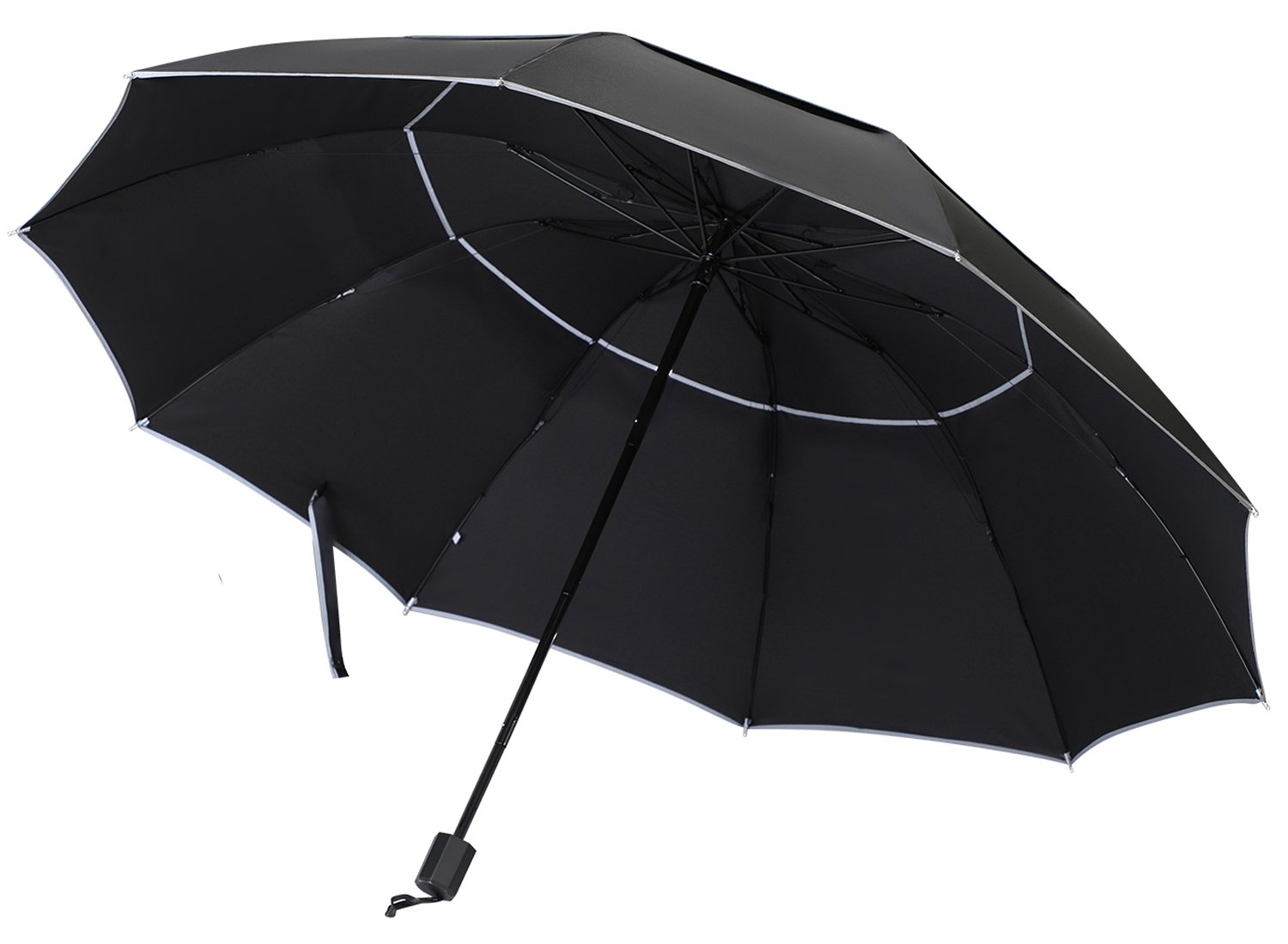 Windproof Travel Umbrella with Double Canopy Construction, Wind Resistant & Sunproof Umbrella for Business and Travels