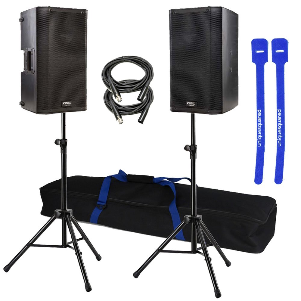 QSC K10 Pair 10'' 1000-Watt Powered Speakers w/ Stands & Cable Ties