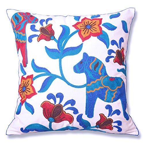 - Milesky Dala Horse Embroidery Throw Pillow Cover Pillowcase Cotton Canvas 18 x 18