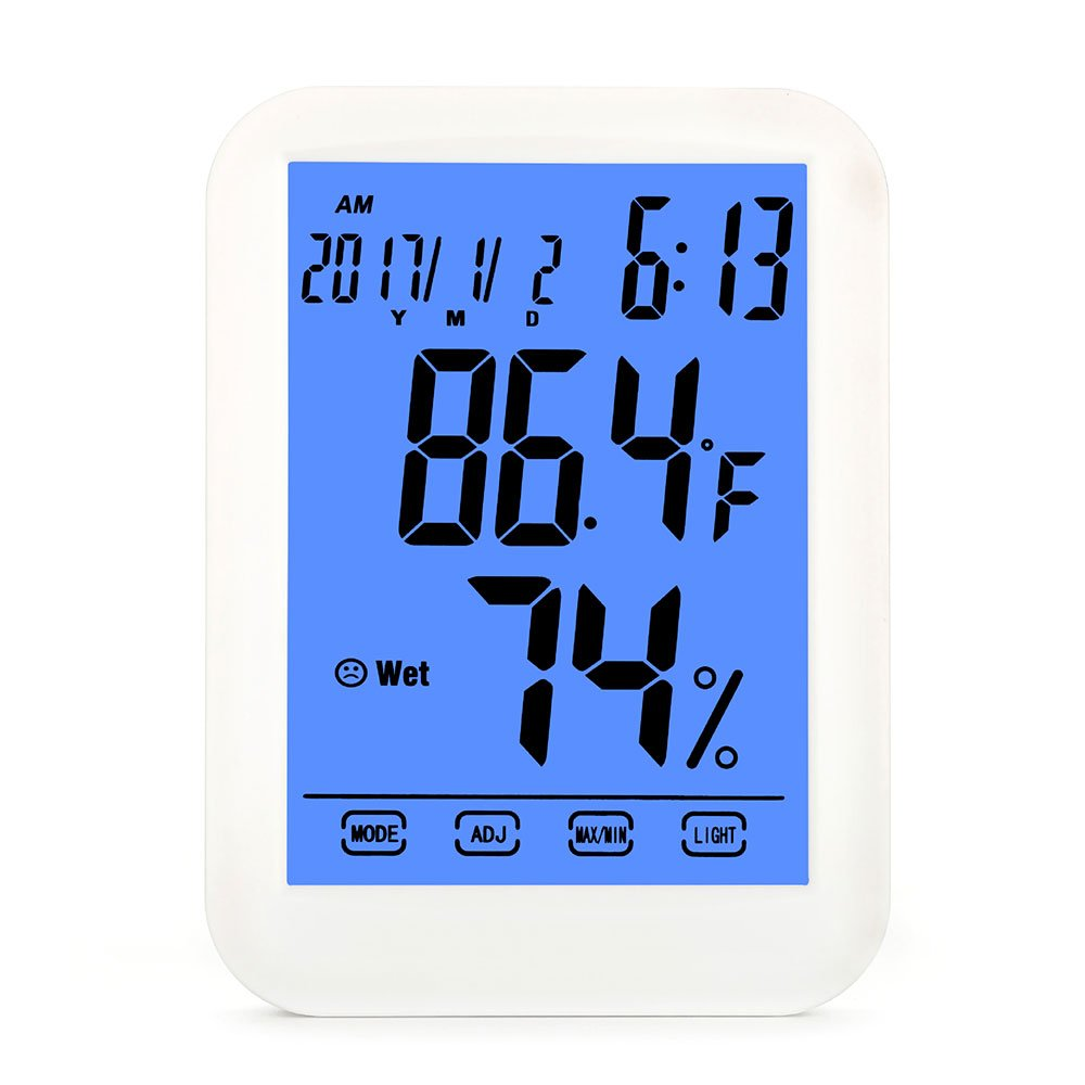 HomEnjoy Digital Hygrometer Indoor Thermometer Humidity Monitor Temperature Humidity Gauge with Alarm Clock & Blue Backlight, Wireless for House