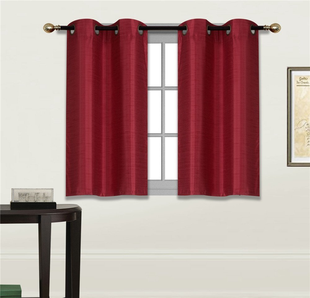 Elegant Home 2 Panels Tiers Grommets Small Window Treatment Curtain Faux Silk Insulated Blackout Drape Short Panel 30''W X 36''L Each for Kitchen Bathroom or ANY Small Window # D24 (Burgundy)