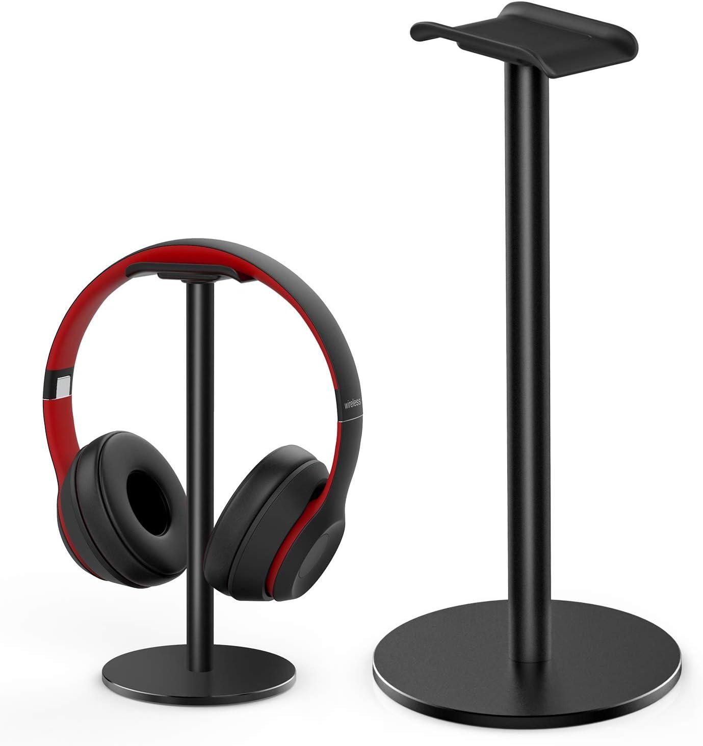 RIYO Headphone Stand Holder, Universal Aluminum Alloy Gaming Headphone Holder Desk Display Hanger for All Headphone Sizes(Black)