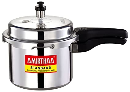 AMIRTHAA Standard Outer Lid Aluminium Pressure Cooker, 3 Litres Silver