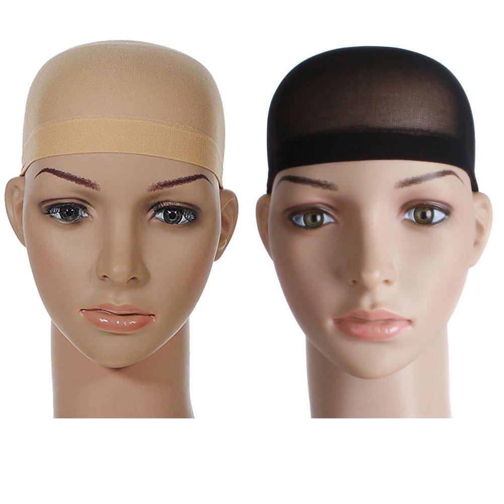 Vikenner parrucca net Cap stretch mesh net WIG Cap elastico tessitura berretto durevole parrucca morbido mesh Dome WIG, confezione da 2(nero + colore della pelle)