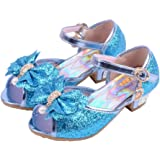 Wangwang Kids Girls Sequin Sandals Princess Crystal High Heels Shoes