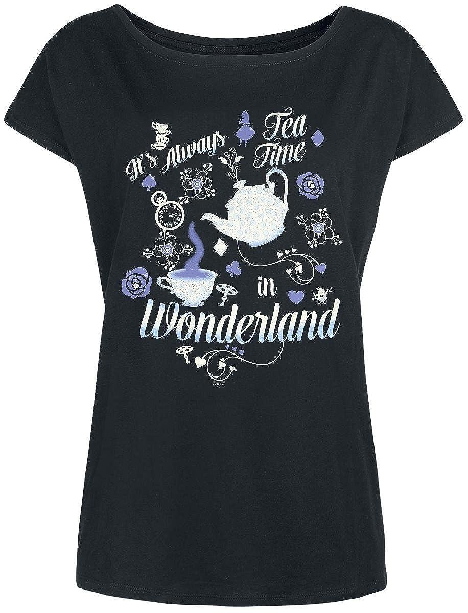 TALLA XXL. Alice im Wunderland Alicia en el País de Las Maravillas It's Always Tea Time Camiseta Mujer Negro