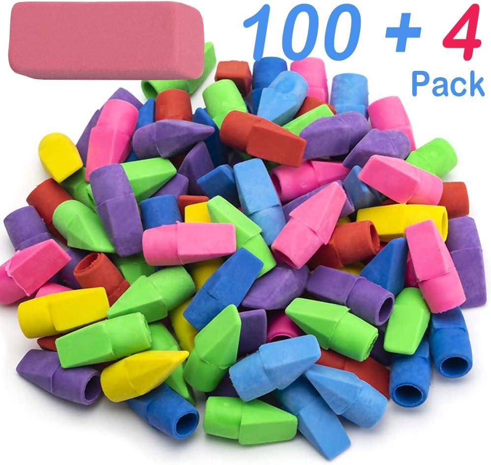 Colored pencil top erasers.