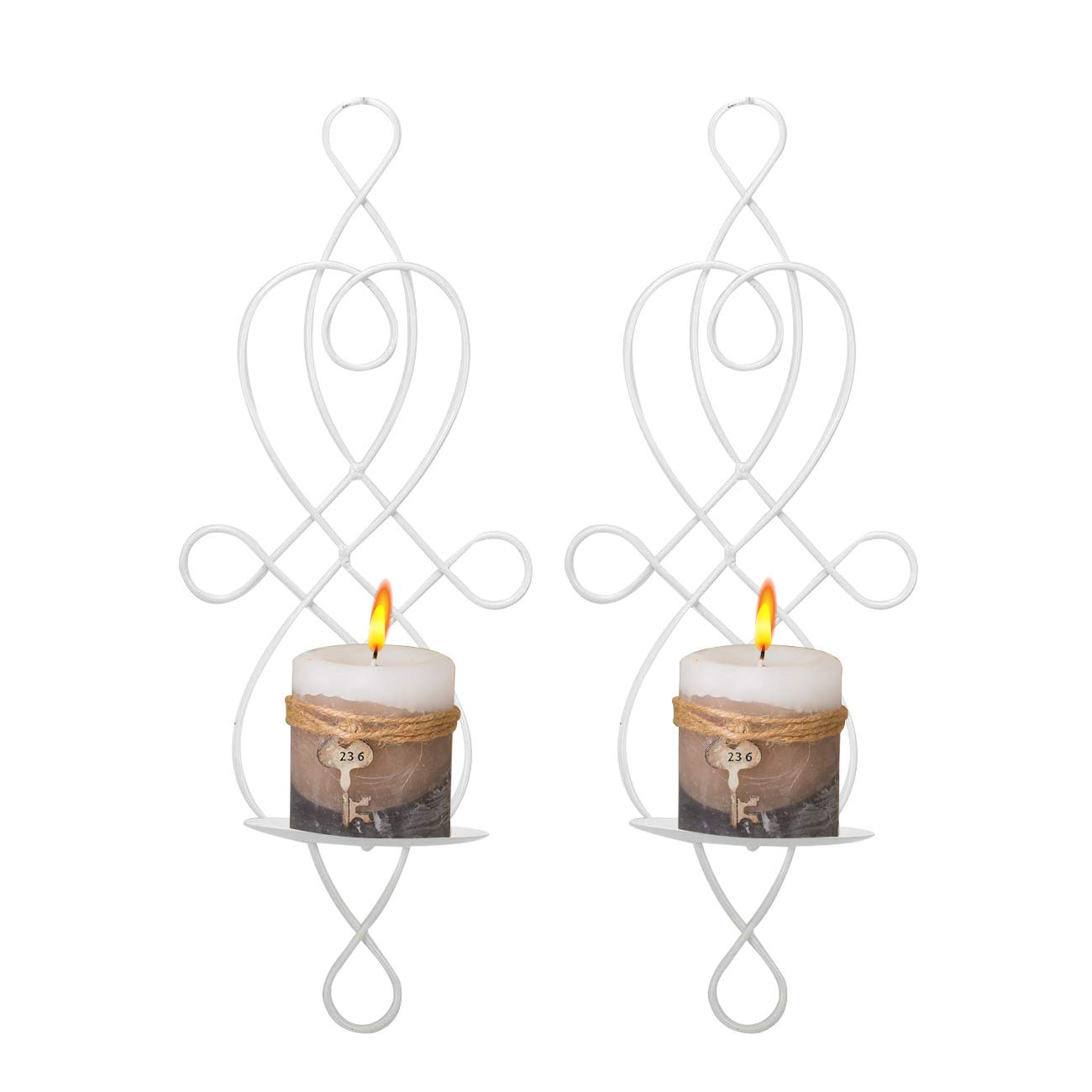 Wall Sconce Tea Light Candle Sconces Elegant Swirling Iron Hanging Wall Mounted Decorative Candle Holder for Home Decorations, Weddings, Events, 2 Piece, White