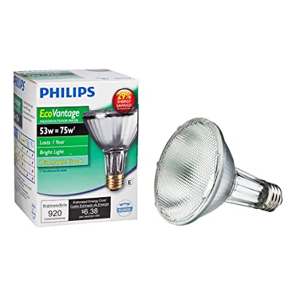 Philips 419549 Halogen PAR30L 75 Watt Equivalent 25 Degree Flood Light Bulb - Incandescent Bulbs - Amazon.com